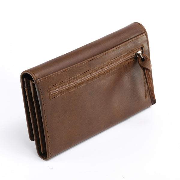 Style n Craft 391101 Ladies Clutch Wallet in Leather in Oak Color - Back Angled View Closed