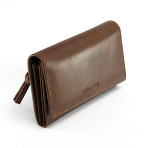 Style n Craft 391101 Ladies Clutch Wallet in Leather in Oak Color - Front Angled View Closed