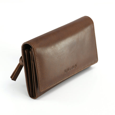 391101 Ladies Clutch Wallet in Oak Color Leather | Style n Craft