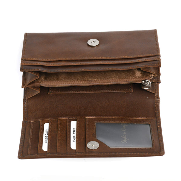 Style n Craft 391101 Ladies Clutch Wallet in Leather in Oak Color - Open View 1