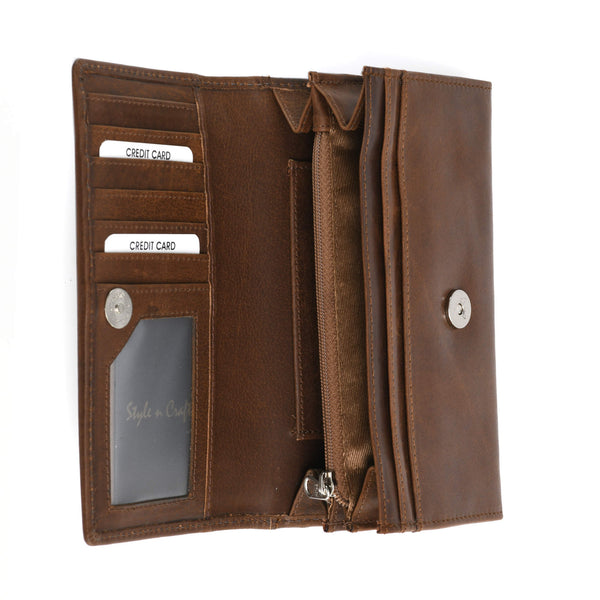 Style n Craft 391101 Ladies Clutch Wallet in Leather in Oak Color - Open View 2