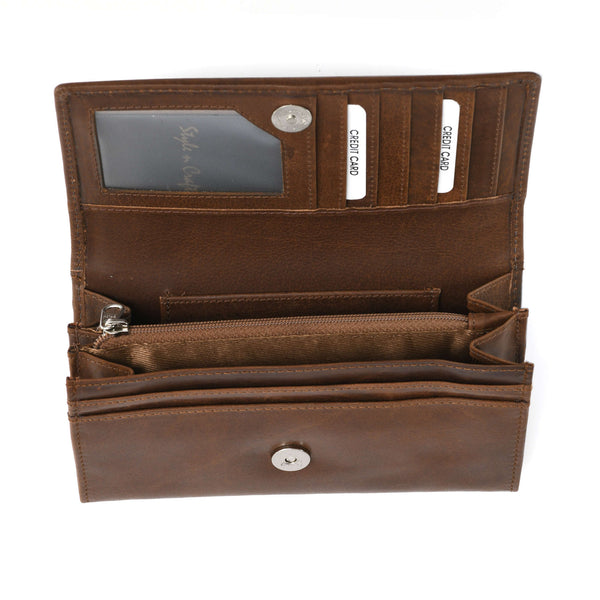 Style n Craft 391101 Ladies Clutch Wallet in Leather in Oak Color - Open View 3
