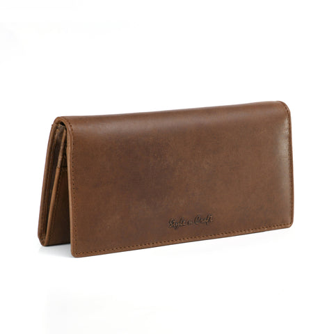 Style n Craft 391103 Ladies Long Clutch Wallet in Oak Color Leather - Front View Closed