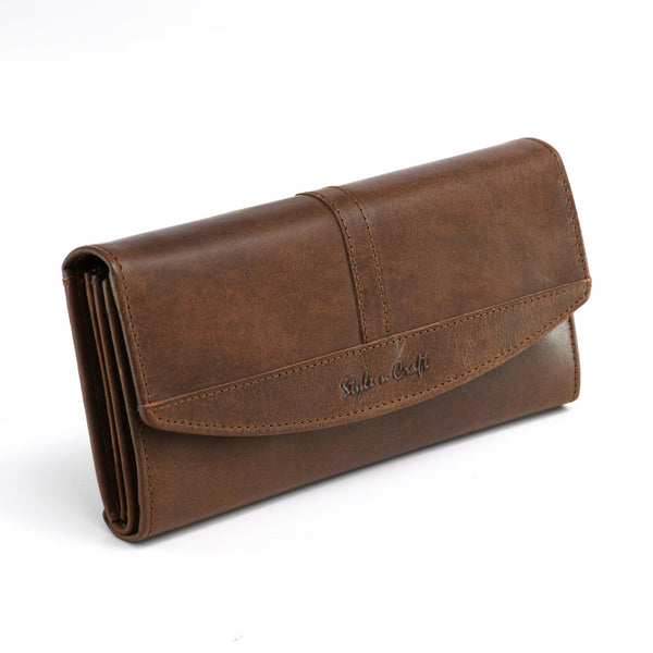 Style n Craft 391104 Double Fold Ladies Long Clutch Wallet in Oak Color Leather - Front Angled View Closed 1