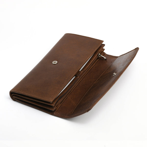 Style n Craft 391104 Double Fold Ladies Long Clutch Wallet in Oak Color Leather - Front First Flap Open View 1