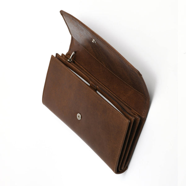 Style n Craft 391104 Double Fold Ladies Long Clutch Wallet in Oak Color Leather - Front First Flap Open View 2