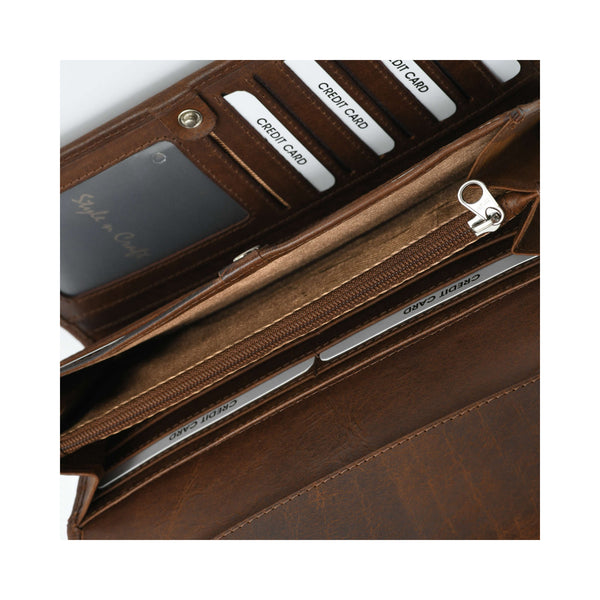 Style n Craft 391104 Double Fold Ladies Long Clutch Wallet in Oak Color Leather - Fully Open View 2