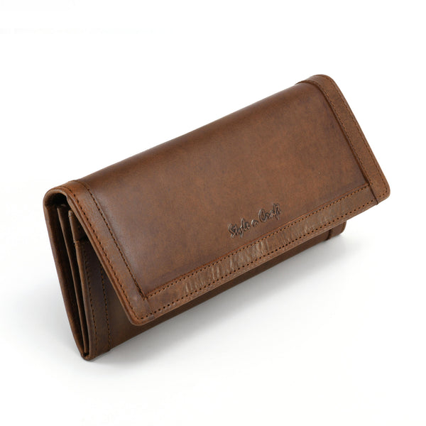 Style n Craft 391106 Ladies Long Clutch Wallet in Oak Color Leather with a Leather Frame on the Outside - Front Angled View Closed