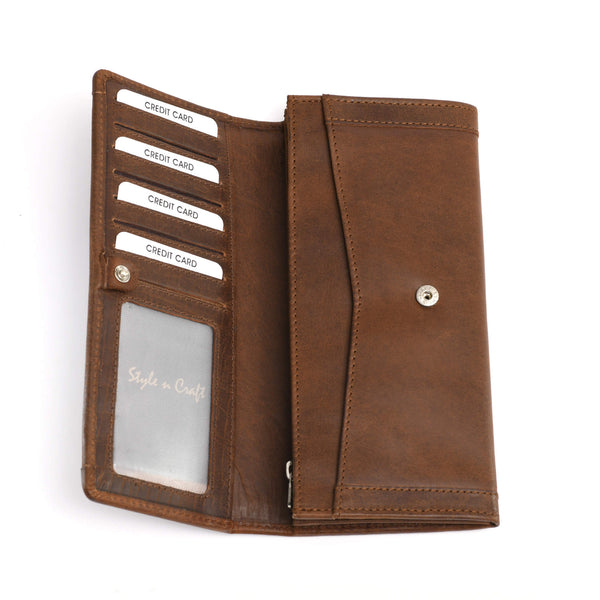 Style n Craft 391106 Ladies Long Clutch Wallet in Oak Color Leather with a Leather Frame on the Outside - Open View 1