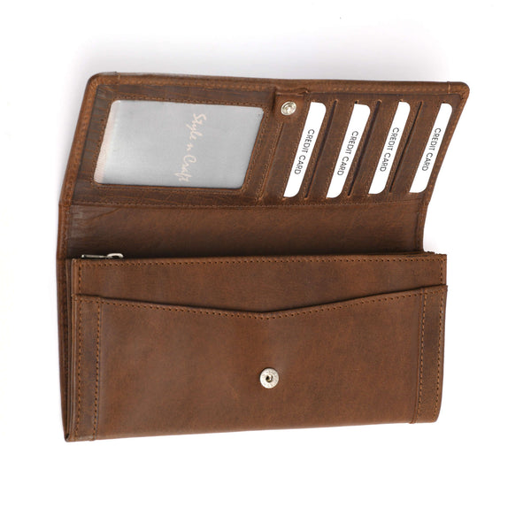 Style n Craft 391106 Ladies Long Clutch Wallet in Oak Color Leather with a Leather Frame on the Outside - Open View 2