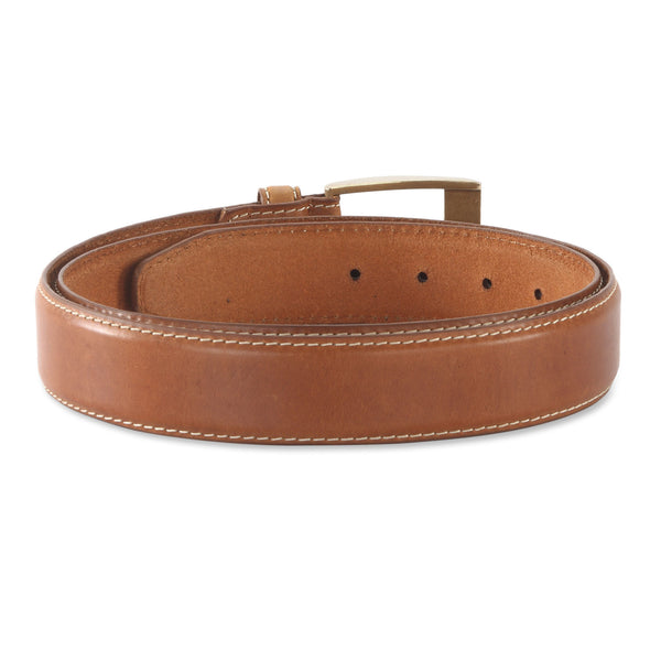 391901 - one and a half inch wide leather belt in tan color top grain leather - back view