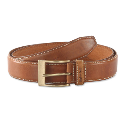 391901 - one and a half inch wide leather belt in tan color top grain leather - front view