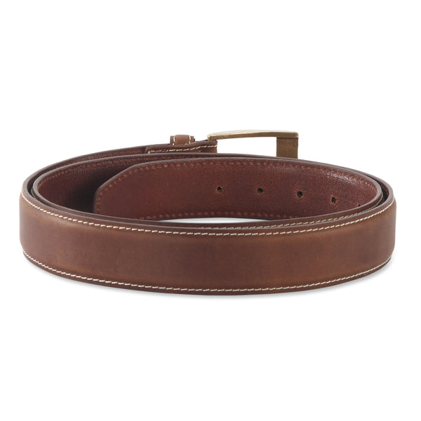 391902 - one and a half inch wide leather belt in brown color top grain leather - back view