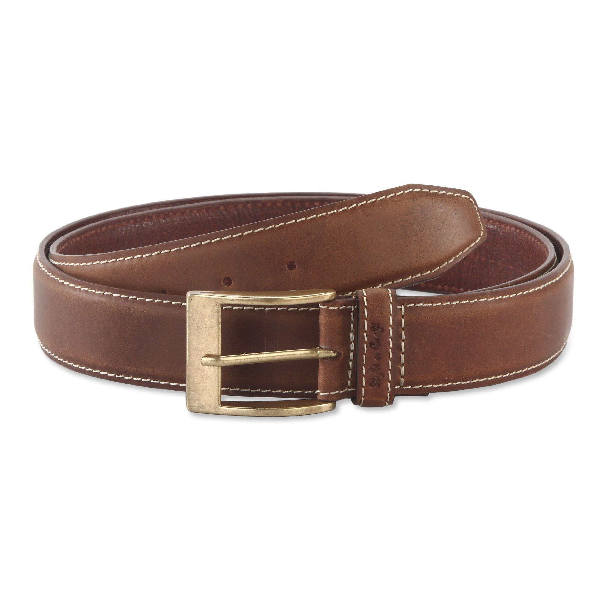 391902 - one and a half inch wide leather belt in brown color top grain leather - front view