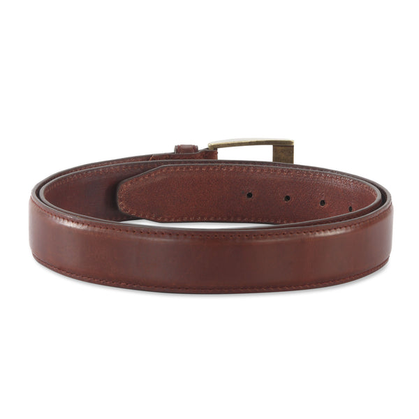 391903 - one and a half inch wide leather belt in brandy color top grain leather - back view