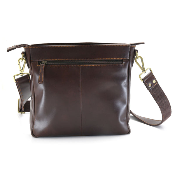 Style n Craft 392001 Cross-body Messenger Bag in Full Grain Dark Brown Leather - Back View showing the Zippered Pocket at the Back