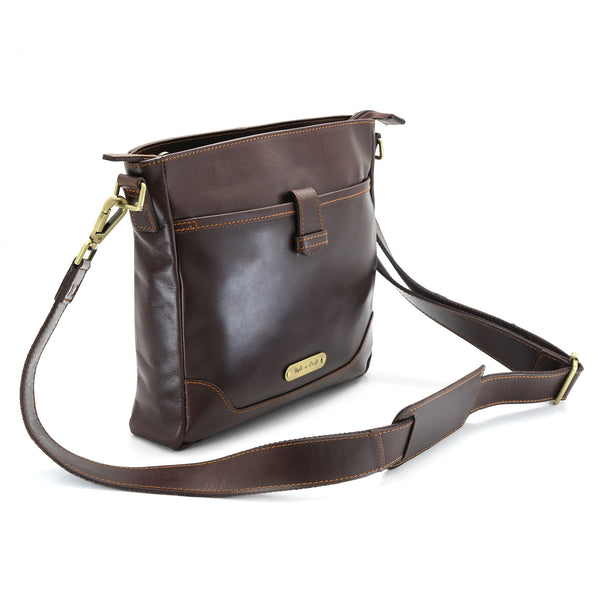 Style n Craft 392001 Cross-body Messenger Bag in Full Grain Dark Brown Leather - Front Angled View