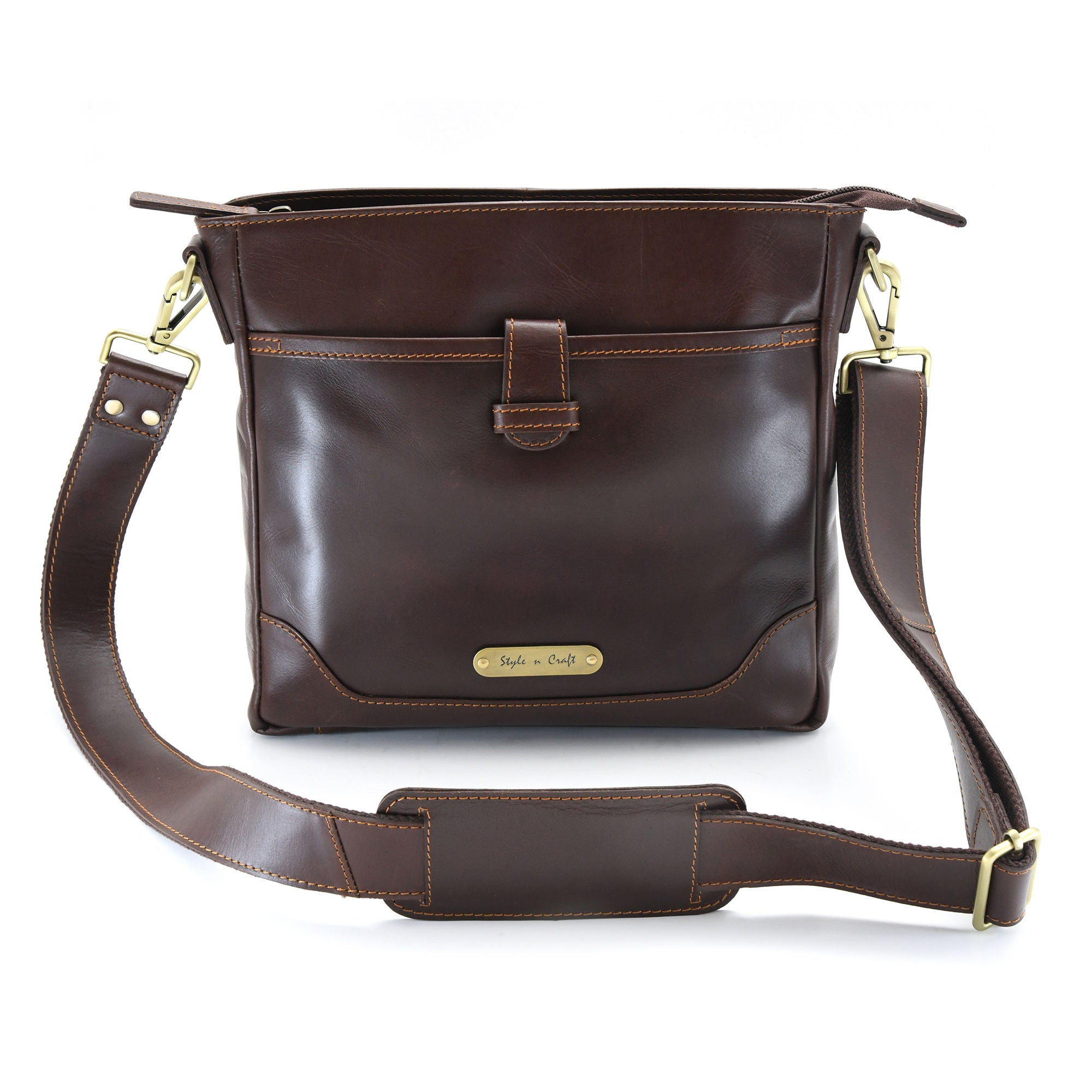 Style n Craft 392001 Cross-body Messenger Bag in Full Grain Dark Brown Leather - Front View