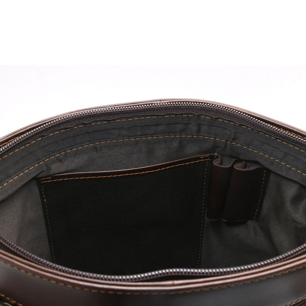 Style n Craft 392001 Cross-body Messenger Bag in Full Grain Dark Brown Leather - Inside Front Wall View showing 1 long Leather Pocket & 2 Pen or Pencil Holders in Leather