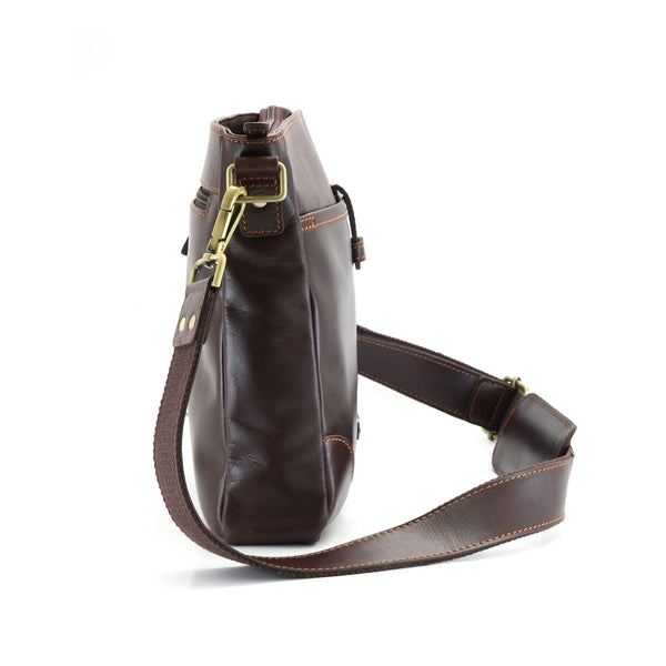 Style n Craft 392001 Cross-body Messenger Bag in Full Grain Dark Brown Leather - Side View showing the Side Profile