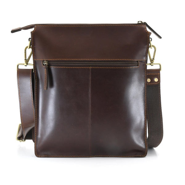 Style n Craft 392002 Tall Messenger Bag in Full Grain Dark Brown Leather - Back  View Showing the Zipper Pocket