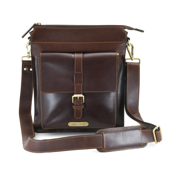 Style n Craft 392002 Tall Messenger Bag in Full Grain Dark Brown Leather - Front View