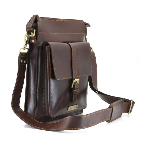 Style n Craft 392002 Tall Messenger Bag in Full Grain Dark Brown Leather - Front Angled View