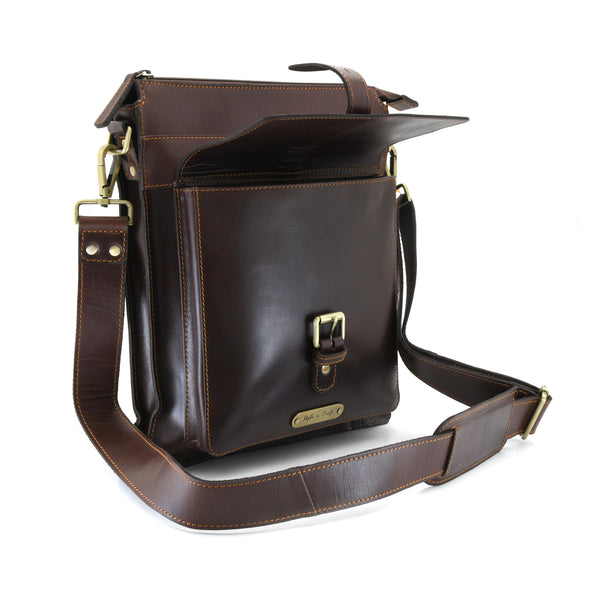 Style n Craft 392002 Tall Messenger Bag in Full Grain Dark Brown Leather - Front Angled View Showing the Front Flap Pocket