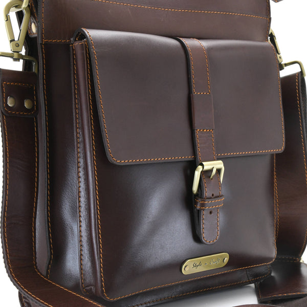 Style n Craft 392002 Tall Messenger Bag in Full Grain Dark Brown Leather - Front Angled Closeup