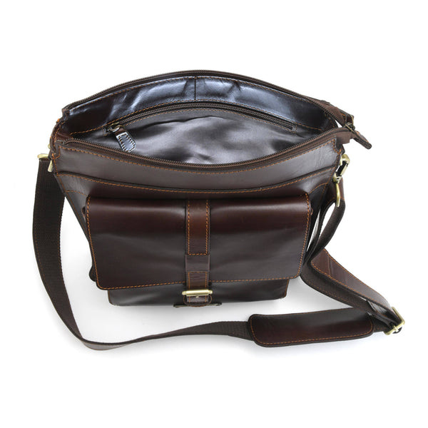 Style n Craft 392002 Tall Messenger Bag in Full Grain Dark Brown Leather - Inside Back Wall Illuminated View