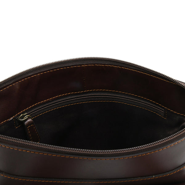 Style n Craft 392002 Tall Messenger Bag in Full Grain Dark Brown Leather - Inside Back Wall View