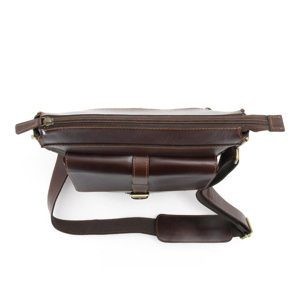 Style n Craft 392002 Tall Messenger Bag in Full Grain Dark Brown Leather - Top View Showing Main Bag Zipper Closure