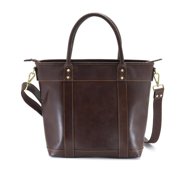 Style n Craft 392003 Men's Tote Bag in Full Grain Dark Brown Leather - Back View
