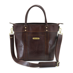 Style n Craft 392003 Men's Tote Bag in Full Grain Dark Brown Leather - Front View