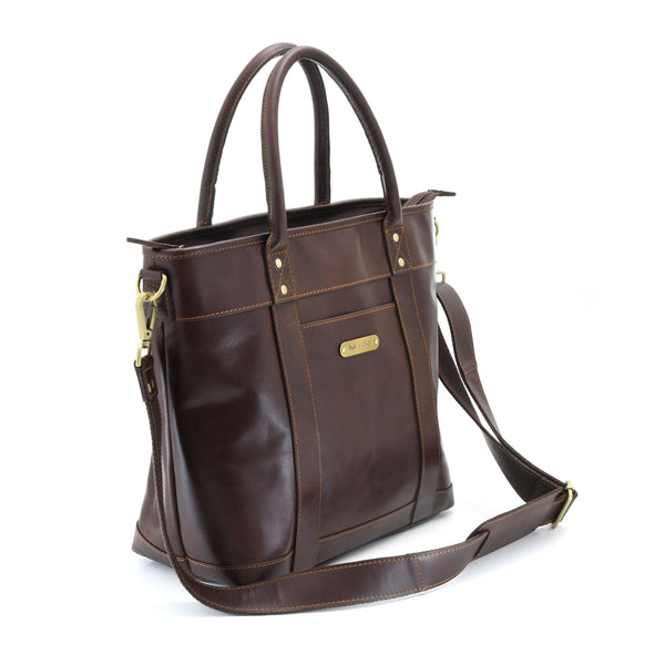 Style n Craft 392003 Men's Tote Bag in Full Grain Dark Brown Leather - Front Angled View