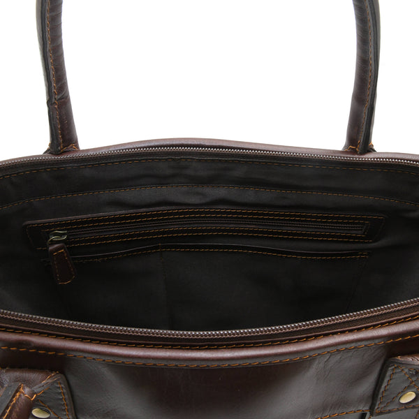 Style n Craft 392003 Men's Tote Bag in Full Grain Dark Brown Leather - Inside Back Wall Pockets - Closeup View