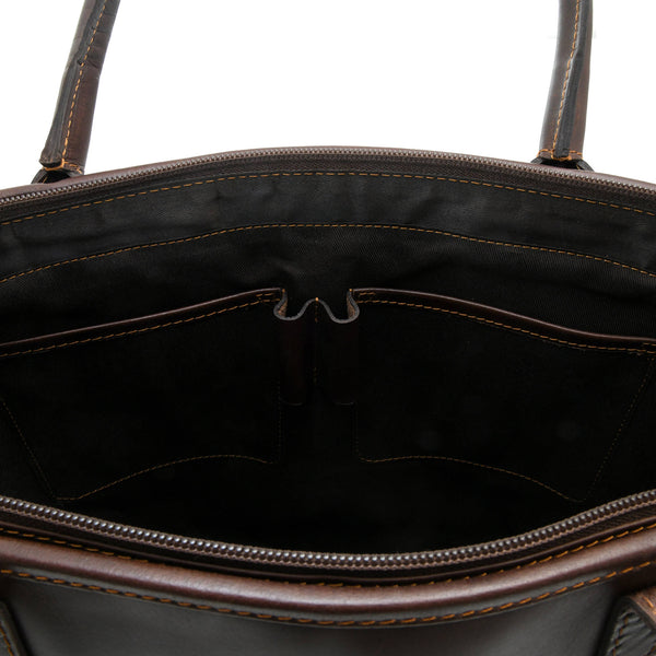 Style n Craft 392003 Men's Tote Bag in Full Grain Dark Brown Leather - Inside Front Wall Pockets - Closeup View