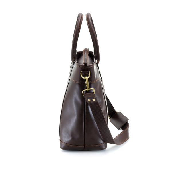 Style n Craft 392003 Men's Tote Bag in Full Grain Dark Brown Leather - Side Profile and View