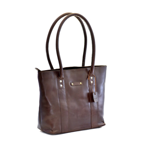 Style n Craft 392004 Ladies Tote Bag in Full Grain Dark Brown Leather - Front Angled View