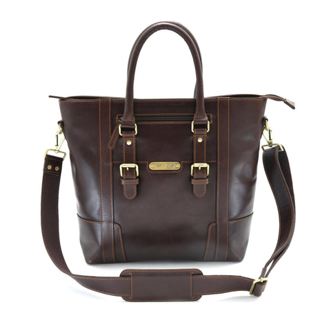 Style n Craft 392006 Men's Tote Bag in Full Grain Dark Brown Leather - Front View