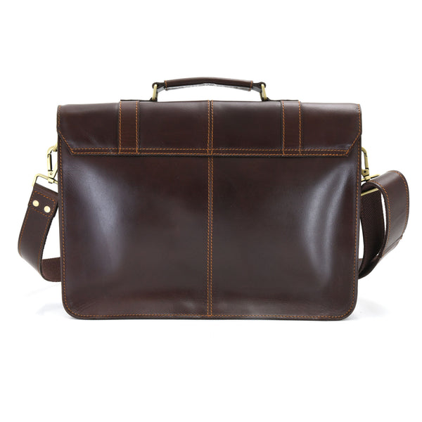 Style n Craft 392007 Portfolio Bag in Full Grain Dark Brown Leather - Back View