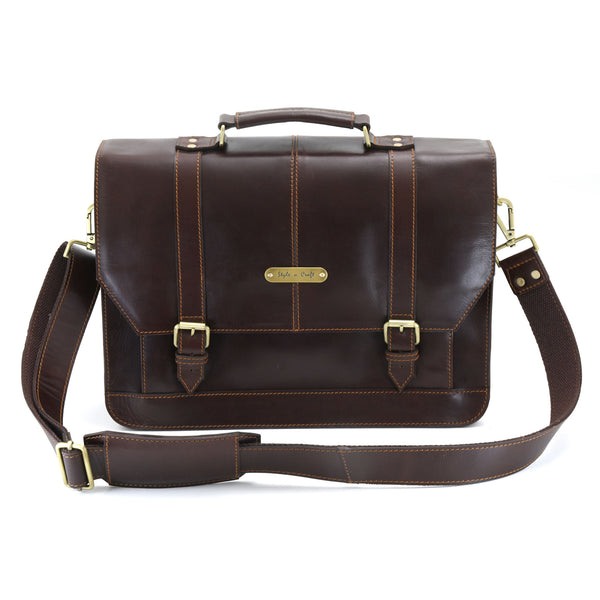 Style n Craft 392007 Portfolio Bag in Full Grain Dark Brown Leather - Front View