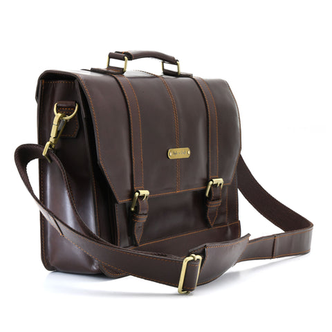 Style n Craft 392007 Portfolio Bag in Full Grain Dark Brown Leather - Front Angled View