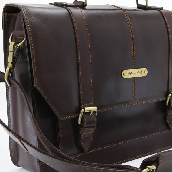 Style n Craft 392007 Portfolio Bag in Full Grain Dark Brown Leather - Front Angled Closeup View