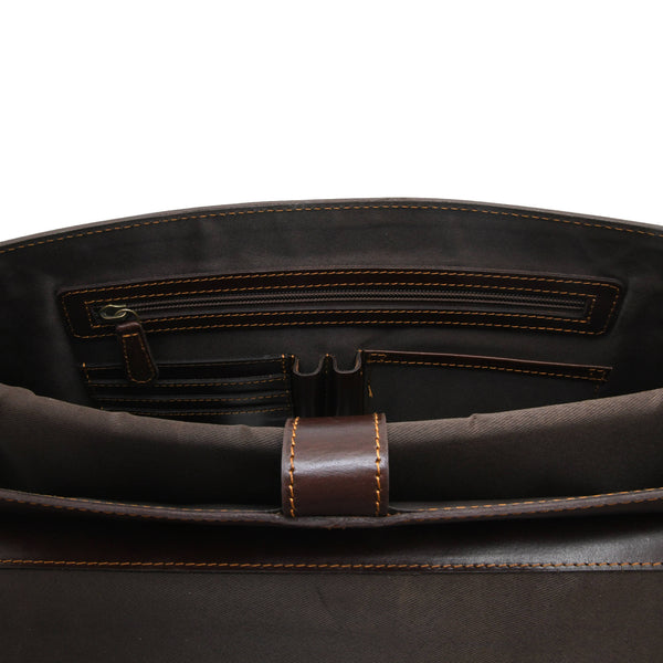 Style n Craft 392007 Portfolio Bag in Full Grain Dark Brown Leather - Inside Front Wall Pockets - Closeup View
