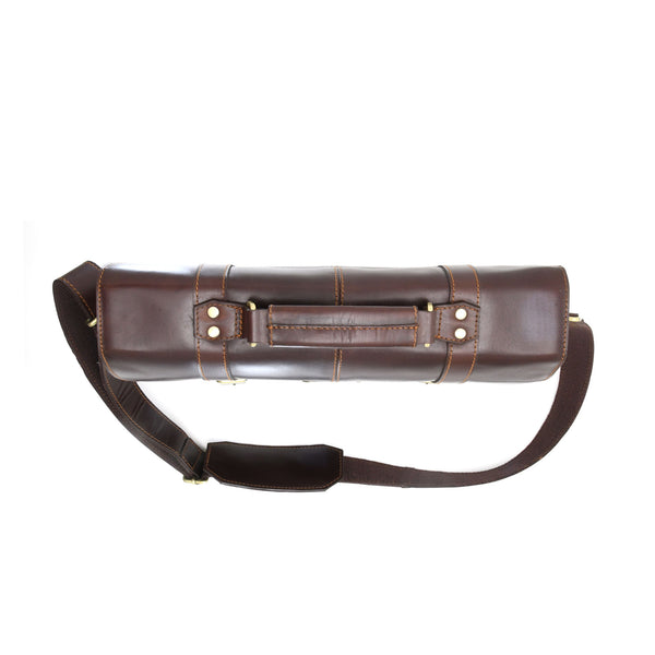 Style n Craft 392007 Portfolio Bag in Full Grain Dark Brown Leather - Top Closed View - Horizontal