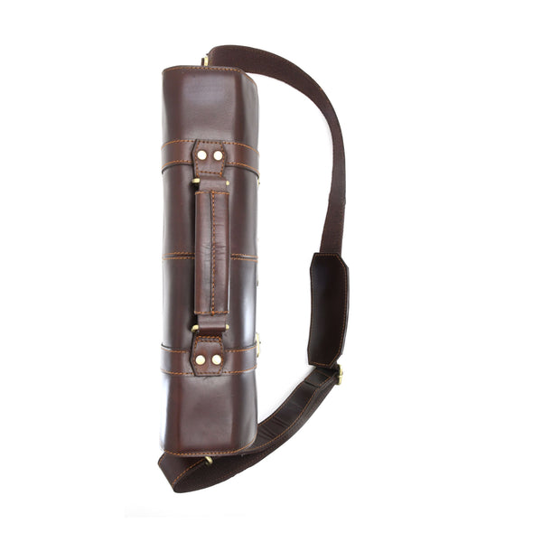 Style n Craft 392007 Portfolio Bag in Full Grain Dark Brown Leather - Top Closed View - Vertical