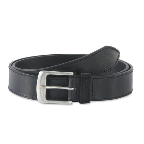 392701 - one and a half inch wide leather belt in black color full grain leather - front view