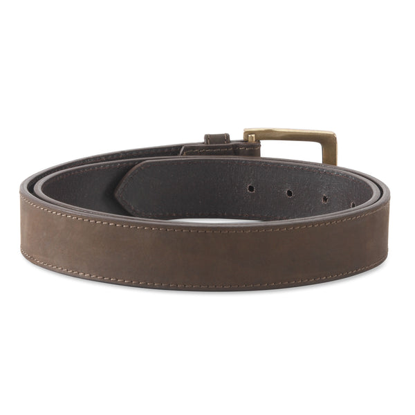 392702 - one and a half inch wide leather belt in dark chocolate brown color top grain hunter leather - back view