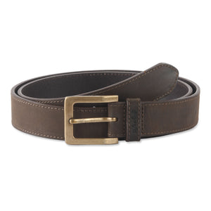 392702 - one and a half inch wide leather belt in dark chocolate brown color top grain hunter leather - front view